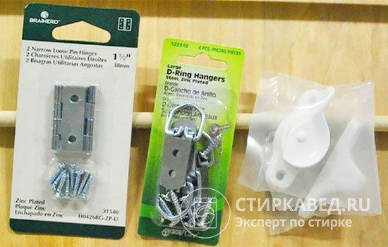 Для изготовления конструкции понадобятся штырьковые петли, дюбели, шурупы, скобочные шарниры