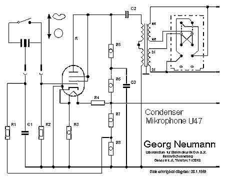 Схема лампового микрофона Neumann U47