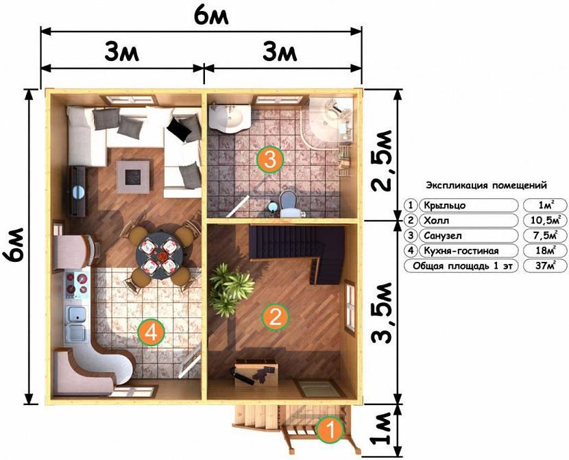 планировка дома 6 на 6 одноэтажный