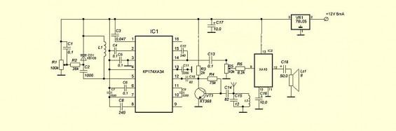 Схема приемной части рации FM диапазона
