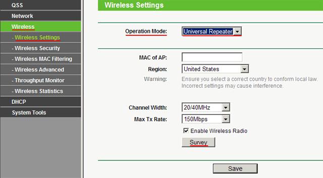 Теперь входим в меню Wireless. Потом в Wireless Settings и далее в Operation Mode на роутере