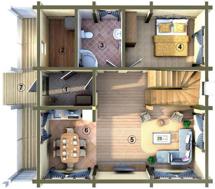 Проект двухэтажного дома 6х6 м. План первого этажа: 1 - прихожая; 2 - хозблок; 3 - санузел; 4 - спальня (детская, кабинет); 5 - гостинная; 6 - кухня