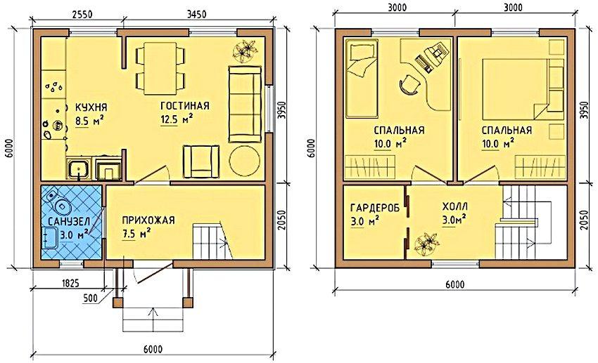 Вариант планировки дома 6х6 с двумя спальнями и гардеробной на втором этаже