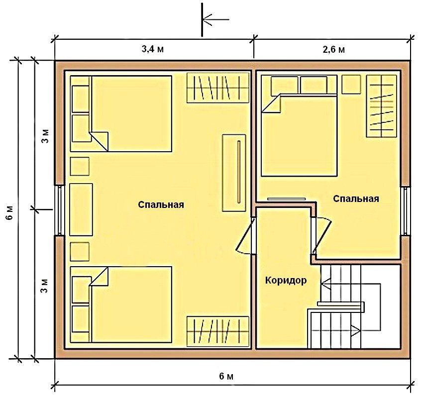 Пример плана второго этажа дома 6 на 6 м