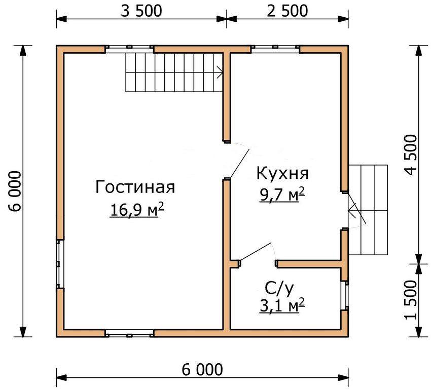 План первого этажа двухэтажного дома 6 на 6 м
