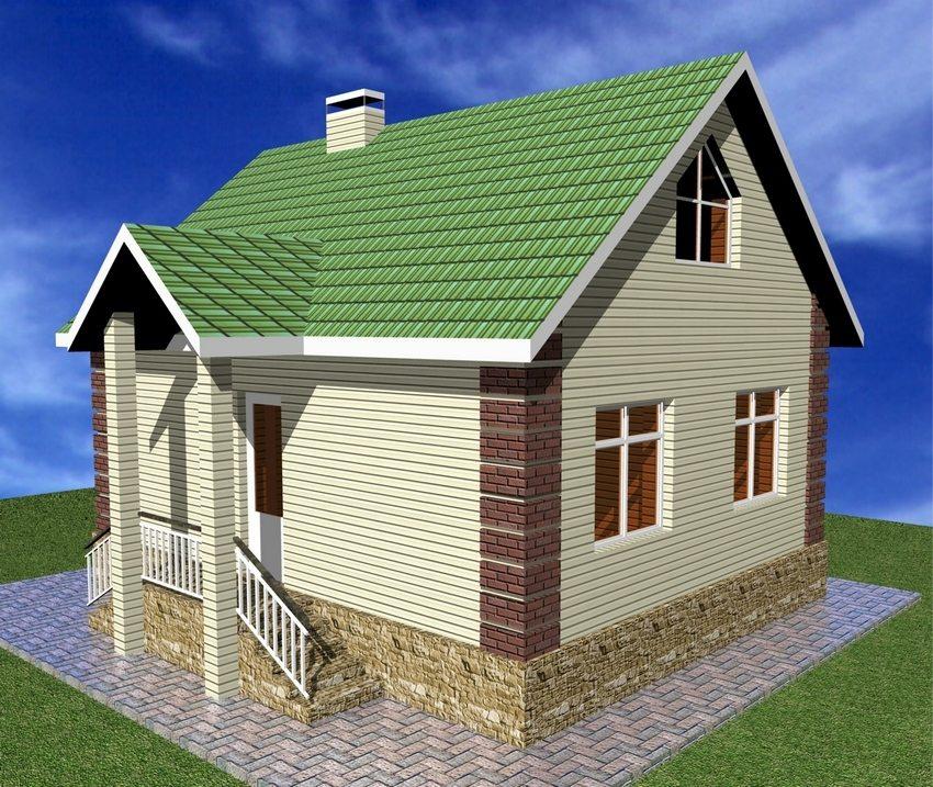 3D-проект двухэтажного дома с небольшой площадью