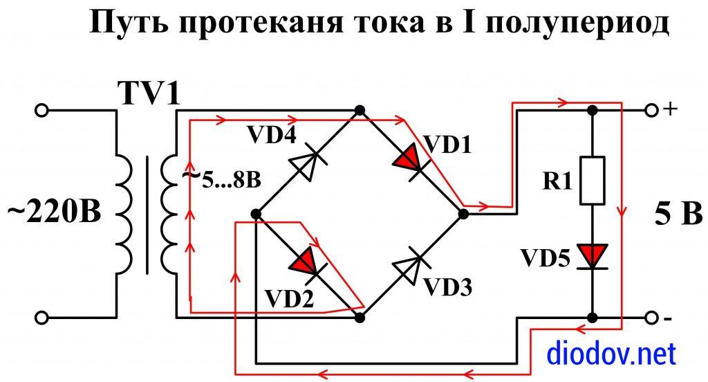 Принцип работы мостового выпрямителя