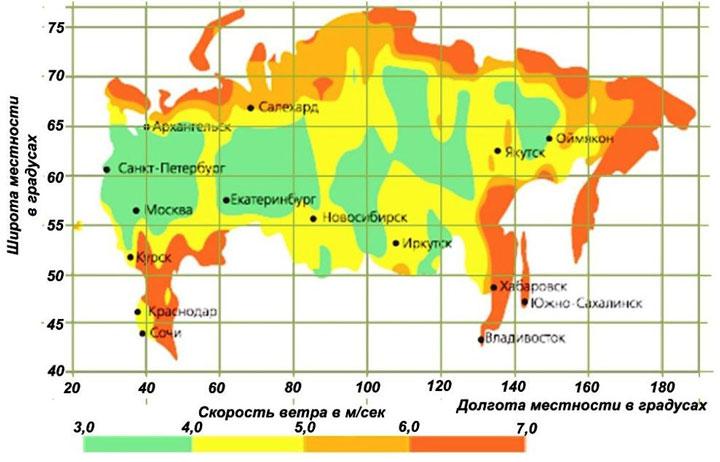 скорости ветра по регионам в России при выборе ветряка