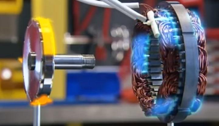 ротор генератора в окружении неодимовых магнитов на ветрогенераторе