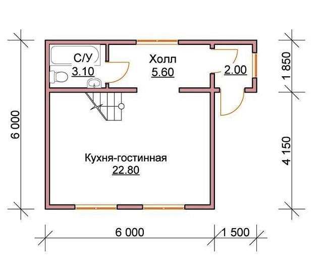 проект дома 6 на 6 кухня совмещенная с гостиной