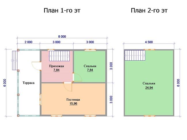 проектировка двухэтажного дома 6 на 6 с террасой