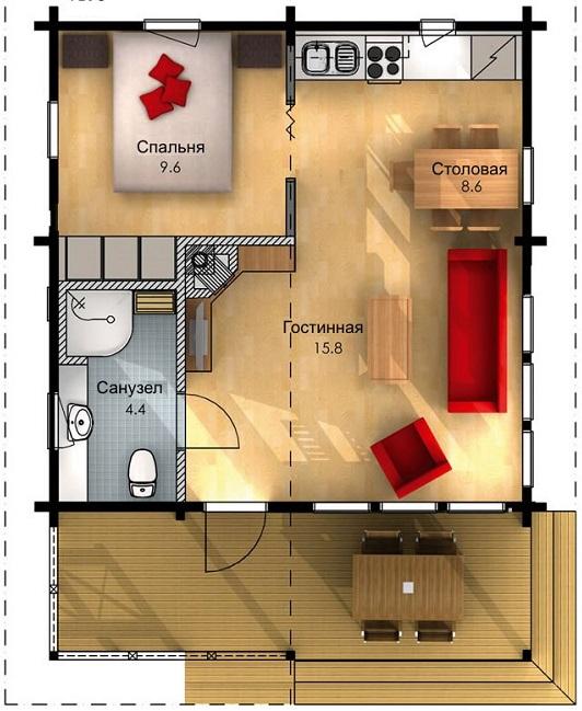 планировка первого этажа дома 6 на 6 со спальней