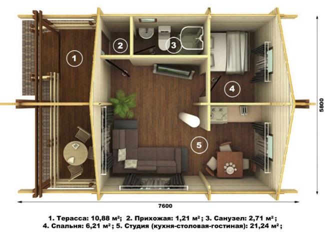 проектировка дома 6 на 6 с открытой террасой