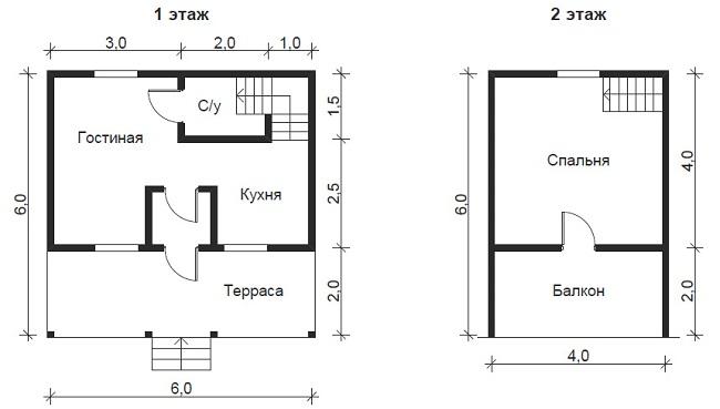 планировка дома 6 на 6 гостиная совмещенная с кухней