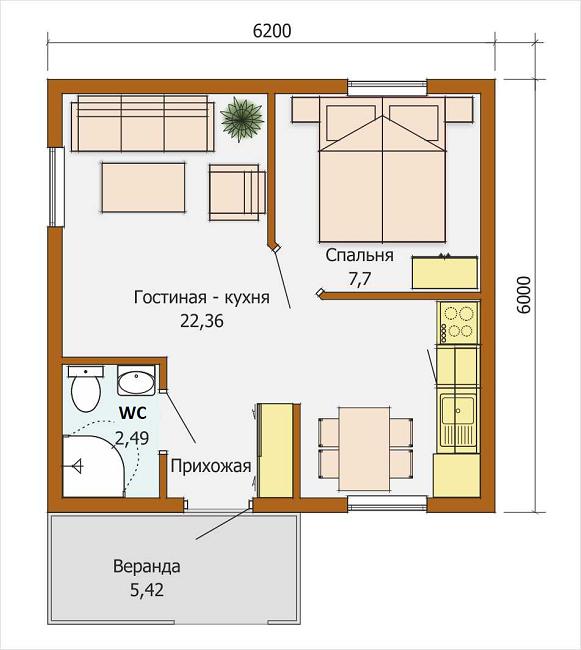 планировка дома 6 на 6 с минимум перегородок