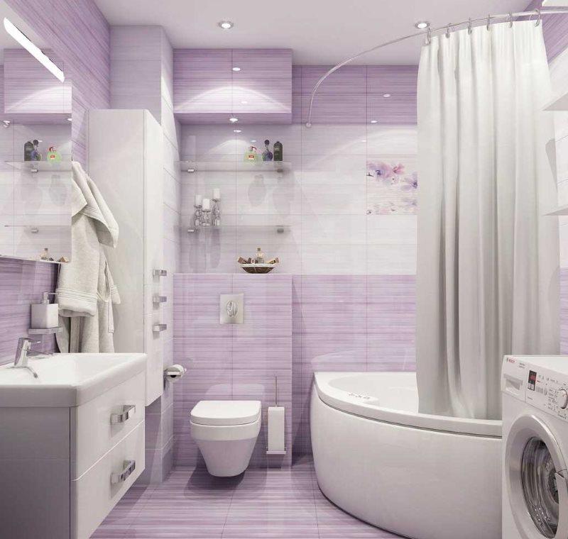 Сиреневая плитка на стене ванной комнаты