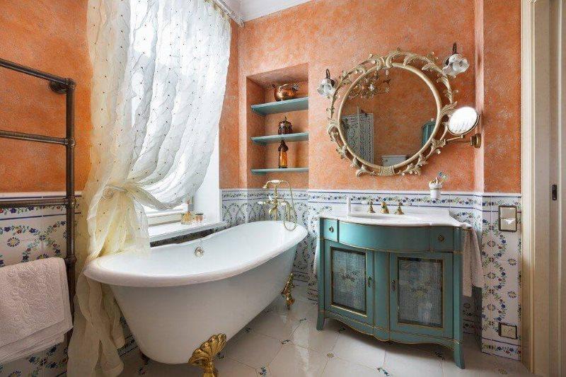 Дизайн ванной комнаты в деревенском доме