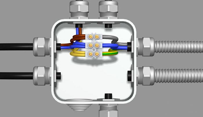 подключение силовых кабелей в распредкоробке