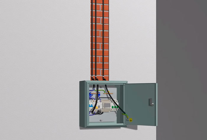 прокладка кабеля питания от щитка до кабеля обогрева крыши и водостоков