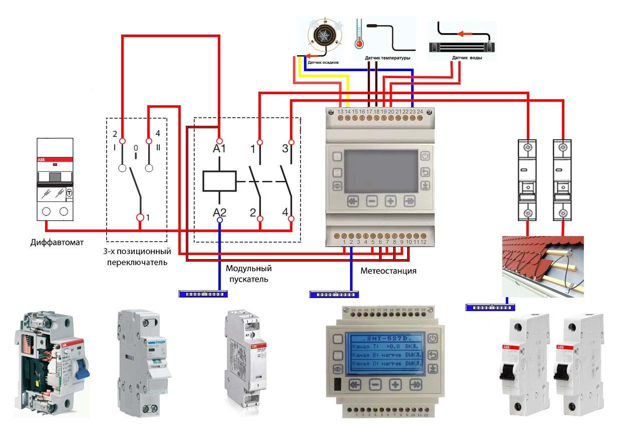схема подключение обогрева кровли и водостоков к датчикам и терморегулятору