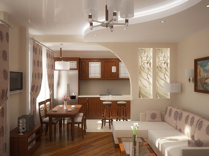 дизайн арки в интерьере кухни гостиной