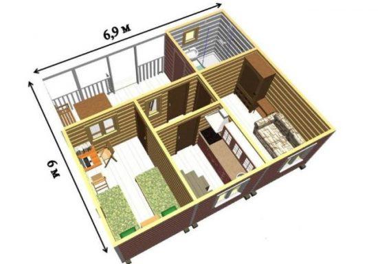 plan doma s verandoj