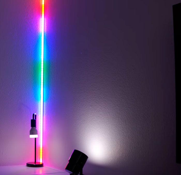 освещение угла стены светодиодной лентой
