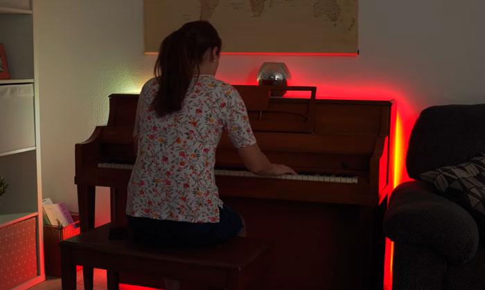 подсветка пианино светодиодной лентой