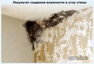 Результат создания влажности в углу стены
