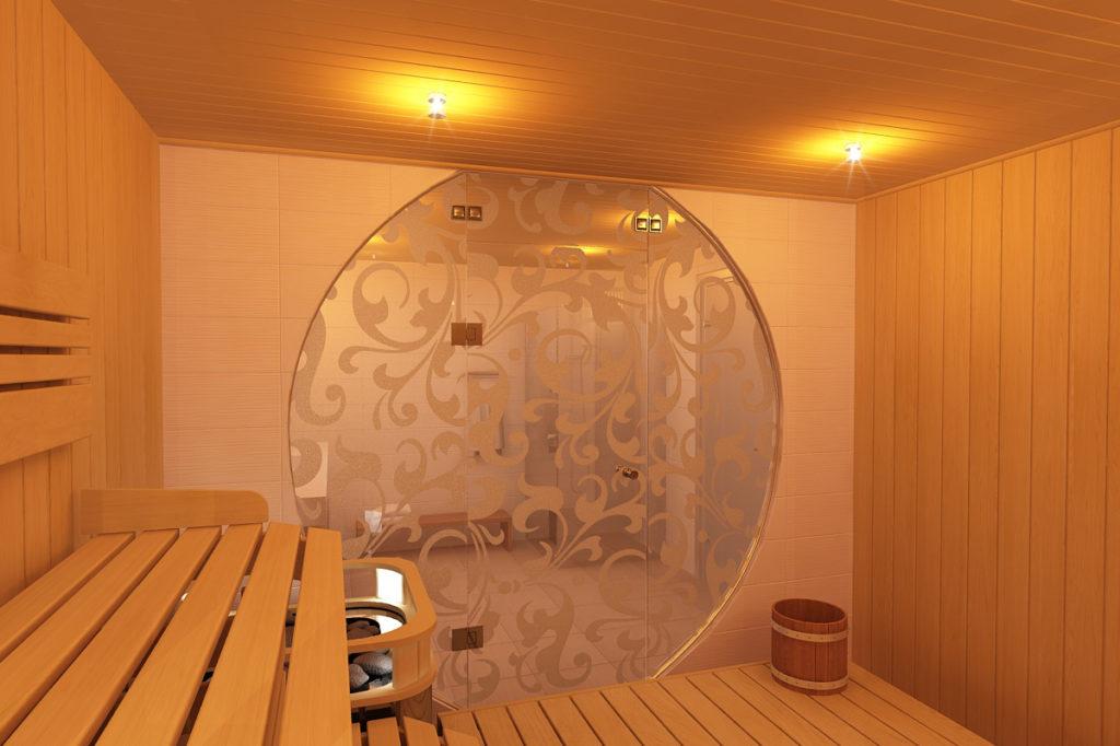 Дверь для бани стеклянная