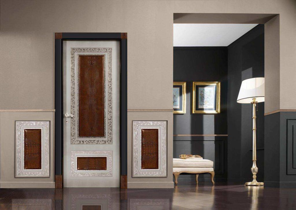Филенчатая дверь с контрастными оттенками