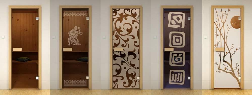 Стеклянная дверь в сауну - модели