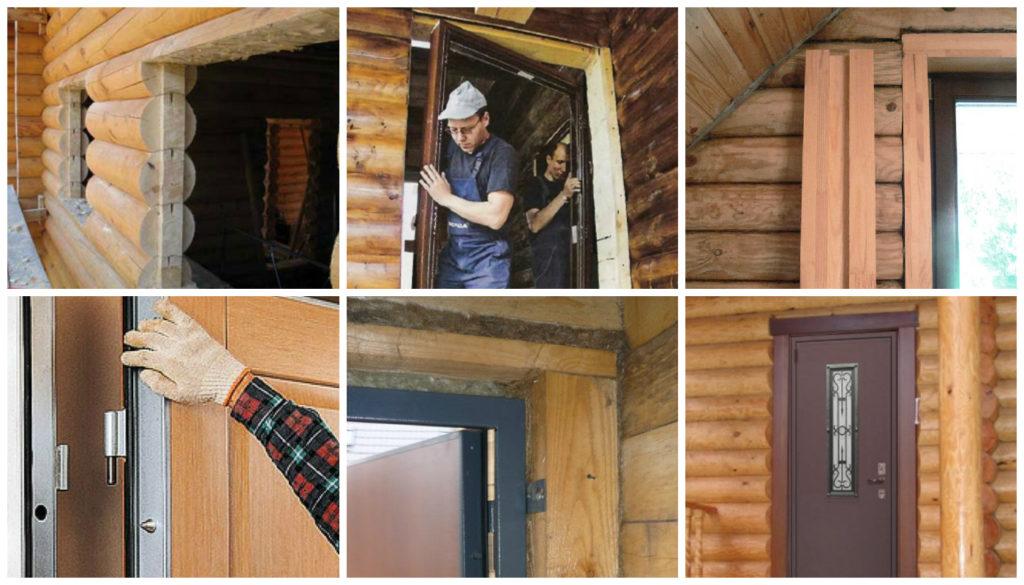 установка железной двери в деревянном доме