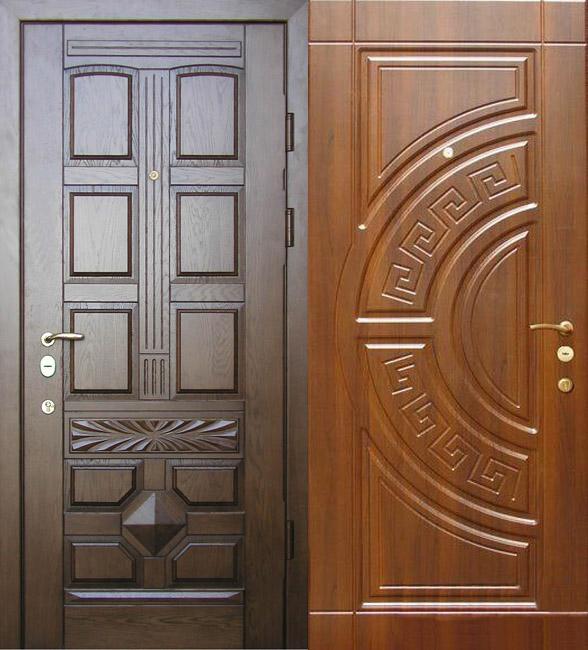 Шпонированная дверь со сложным рельефом