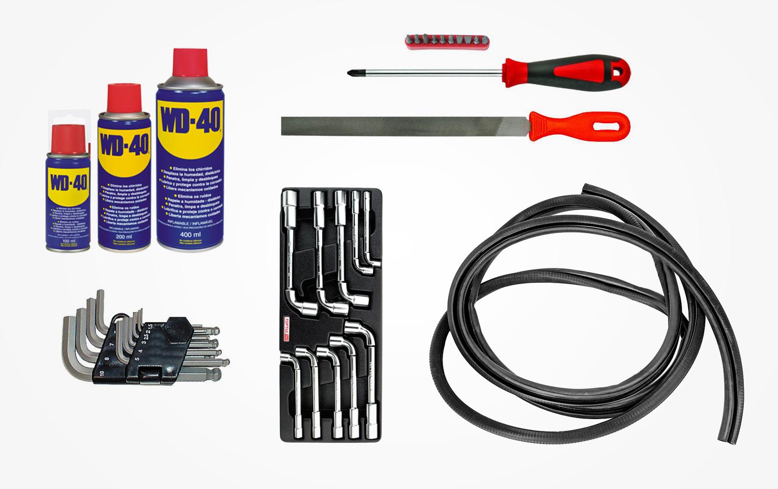 Стандартный набор инструмента для регулировки и частичного ремонта дверей