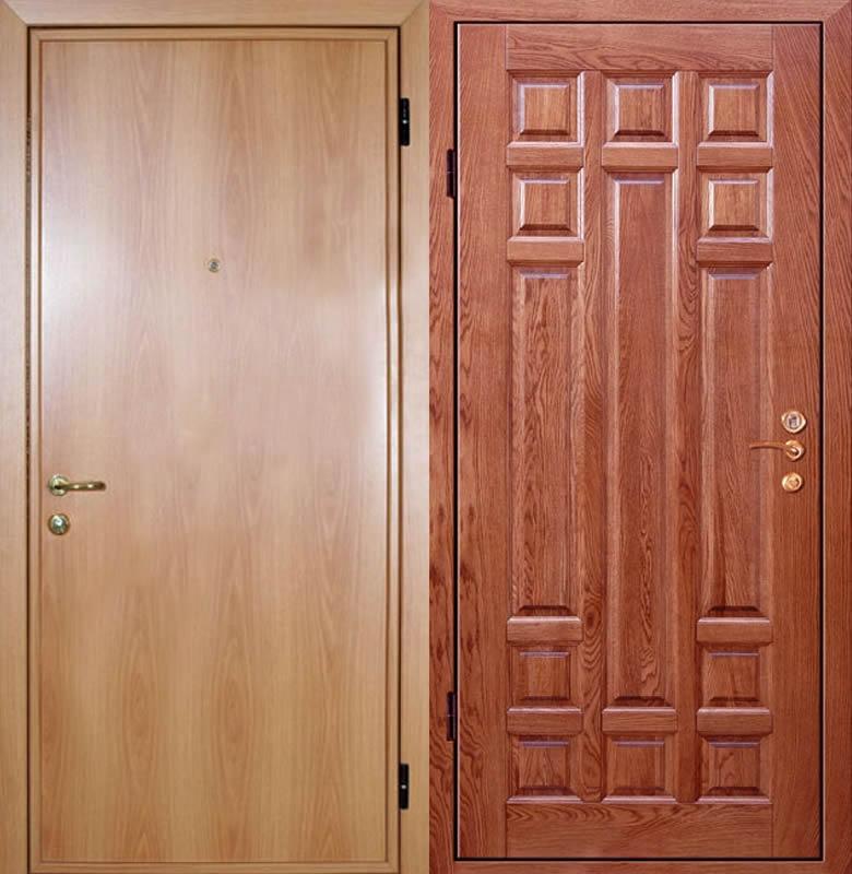 Отделка двери ламинатом и ламинированной МДФ карточкой в сравнении