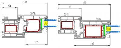 Схема конструкций с наружным и внутренним вариантами распахивания