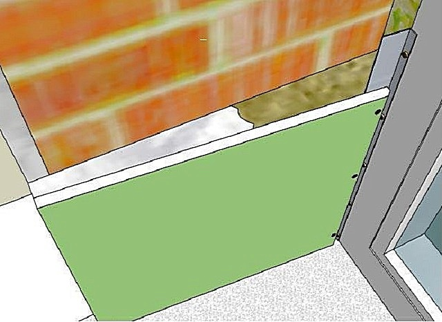 Схема посадки откоса из ГКЛ на клей с частичным утеплением