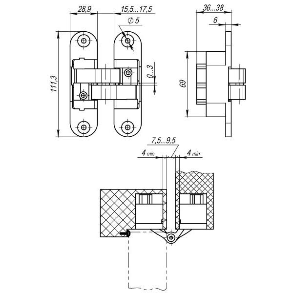 Схема одной из моделей шарнира