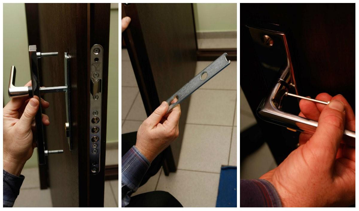 Установка накладки с ручкой в металлические двери