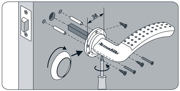 Схема установки стандартной поворотной ручки